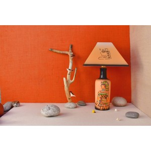 Teak wood warli hand painted lamp