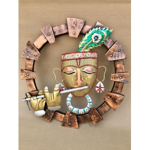 Round Metal Krishna Fluting Wall Decor With LED