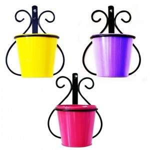 Wall Mount Metal Planter Stand with Round Galvanized Bucket Planter