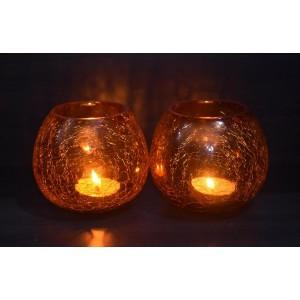 Orange Crackle Tea light Holder
