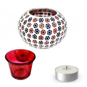 T light Candle Holder - Flower Design Handmade Mosaic