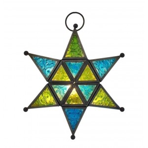 Metal Star Shaped Lantern with Colorful Glasses