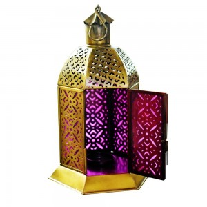 Metal Decorative Antique Purple Glass with Gold Finish Lantern
