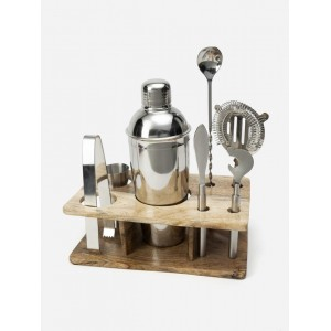 Bar Tool Set With Wooden Stand