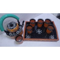 Hand Painted Traditional  Aluminum Tableware Serving Tea Kettle Tea Pot with 6 Chai Glass Set