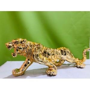 Antique Walking Golden Lion Decorative Showpiece