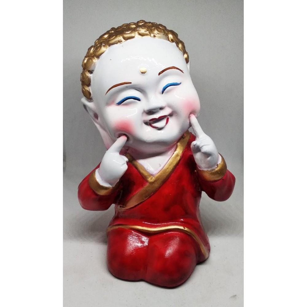 Red Resin Laughing Buddha Polyresine Showpiece
