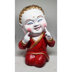 Red Resin Laughing Buddha Polyresine Showpiece