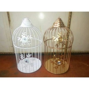 Brown Village Gold Color Metal Birdcage Tea Light Holder