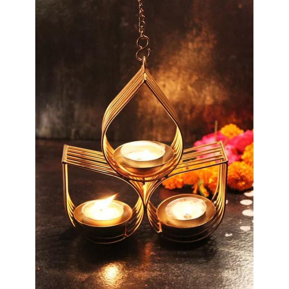 Gold T Light Candle Holder