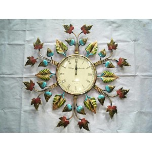 Metal Decorative Leaf Wall Clock Vintage