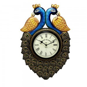wooden multicolor peacock desgine wall clock