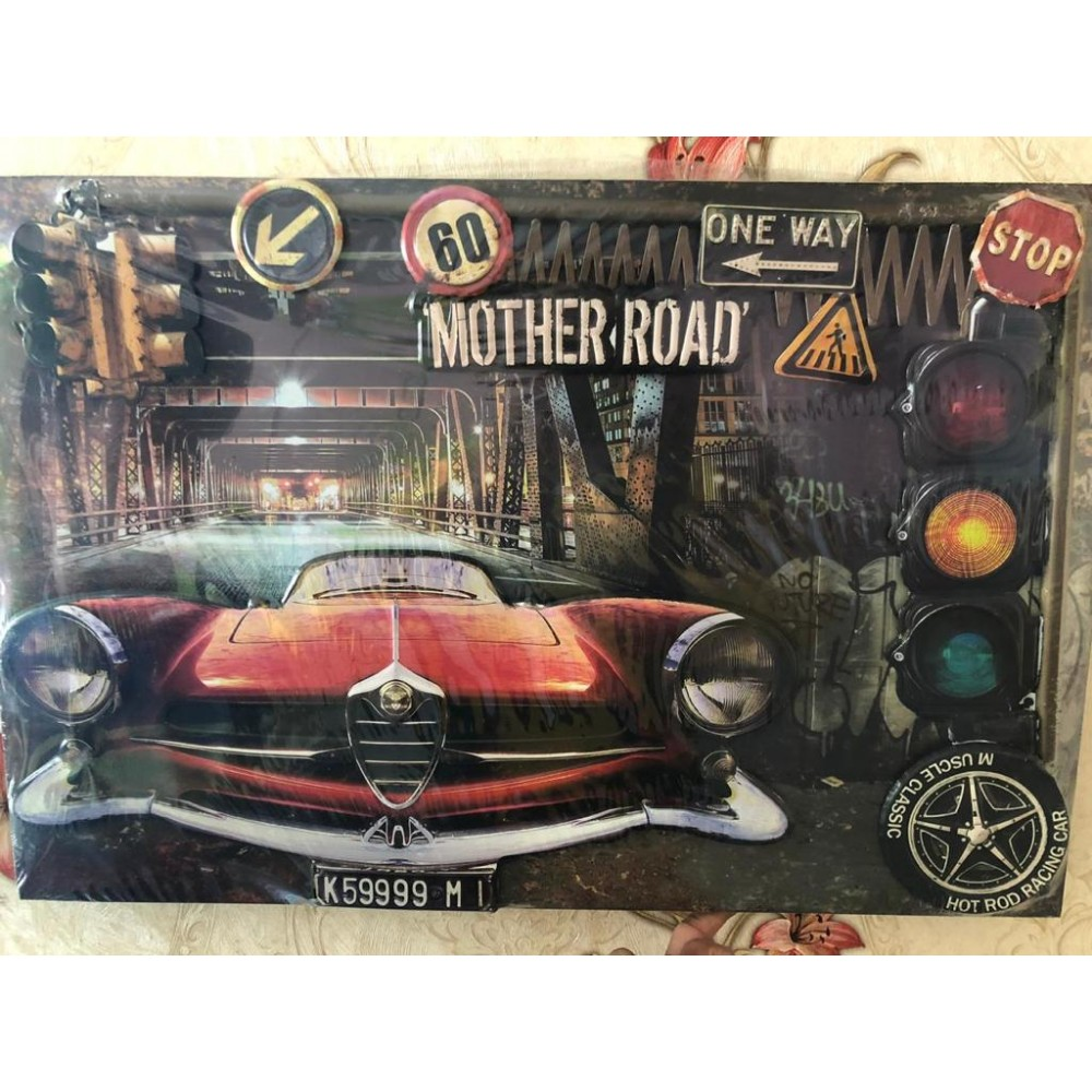 Route 66 embossed canvas wall art