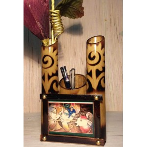 Terracotta Pen Stand with Flower vase