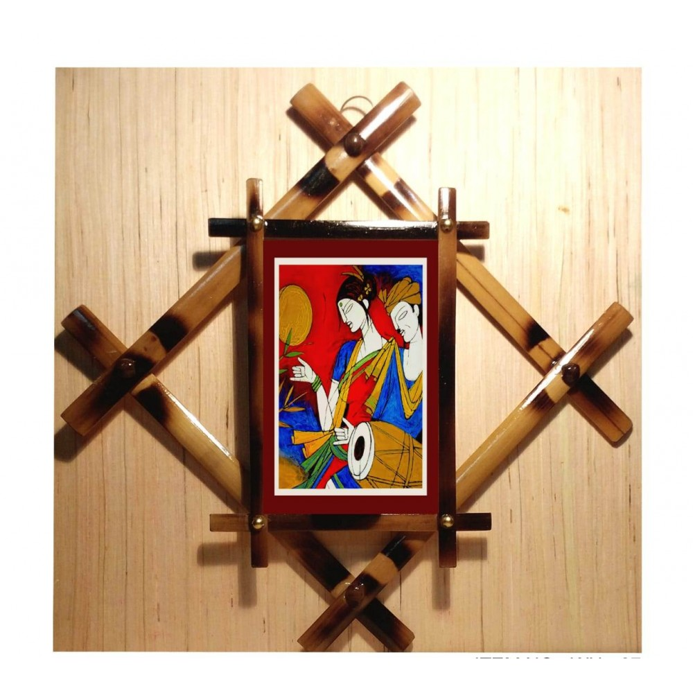 Terracotta wall hanging with painting