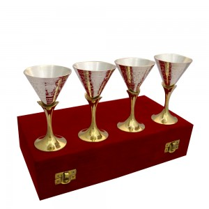 German Silver set of 4 wine glasses
